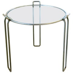 Vintage Modern Chrome and Glass Side or Drinks Table, circa 1960s