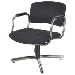 Vintage Modern Chrome & Black Office Armchair 4 Prong Base Style Steelcase, 1970