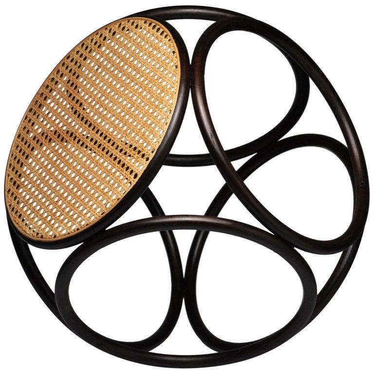 Vintage Modern Circular Bentwood Thonet Stool