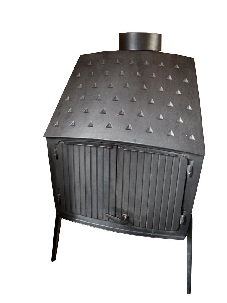Scandinavian Modern Vintage Modern Danish Black Cast Iron Wood Stove and Fireplace by Morsø, Denmark For Sale