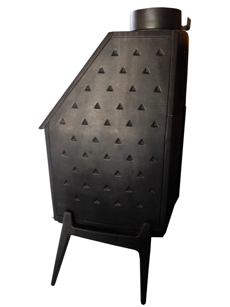 Vintage Modern Danish Black Cast Iron Wood Stove and Fireplace by Morsø, Denmark For Sale 1