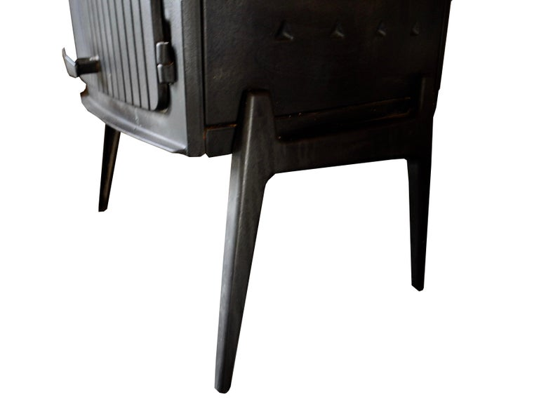Vintage Modern Danish Black Cast Iron Wood Stove and Fireplace by Morsø, Denmark For Sale 3