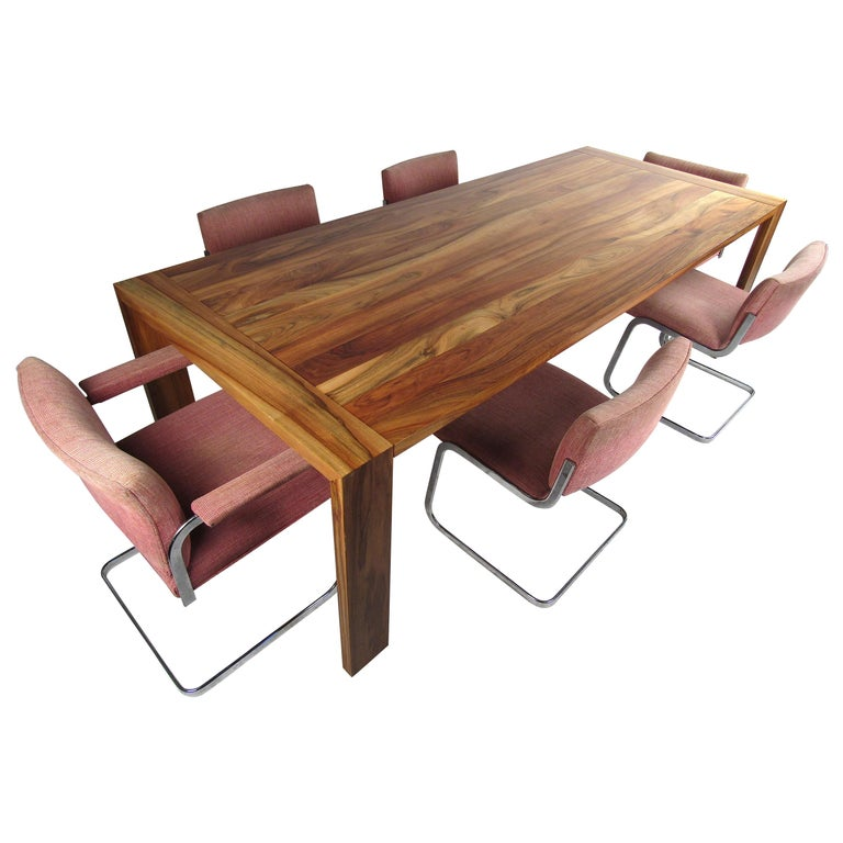 Vintage Modern Dining Set with Large Dining Table and Cantilevered Chairs For Sale