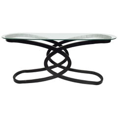 Vintage Modern Glass Top Console Table
