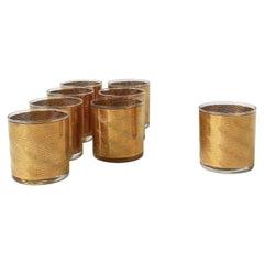 Vintage Modern Gold Rocks' Cocktail Glasses, circa 1970s, Set of 8