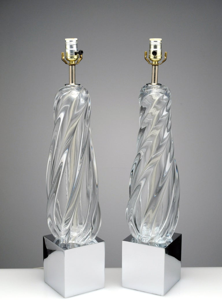 Vintage Modern Hollywood Regency Glass and Chrome Table Lamps 8