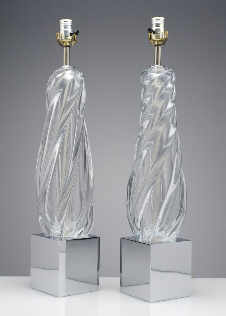 Vintage Modern Hollywood Regency Glass and Chrome Table Lamps 9