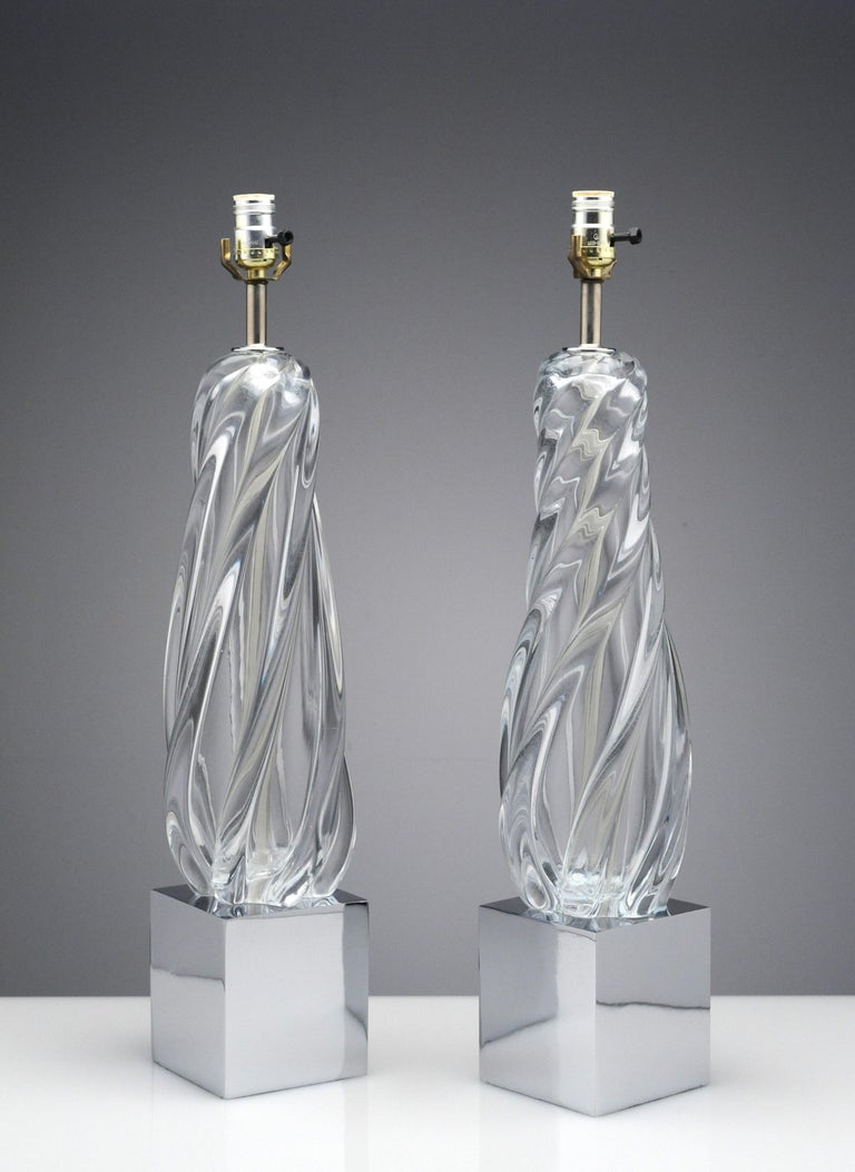 Vintage Modern Hollywood Regency Glass and Chrome Table Lamps In Good Condition In Washington, DC