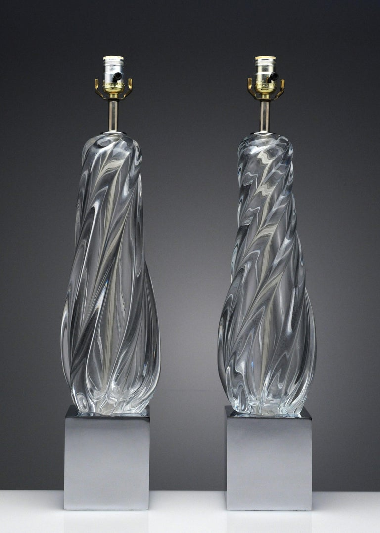 Late 20th Century Vintage Modern Hollywood Regency Glass and Chrome Table Lamps