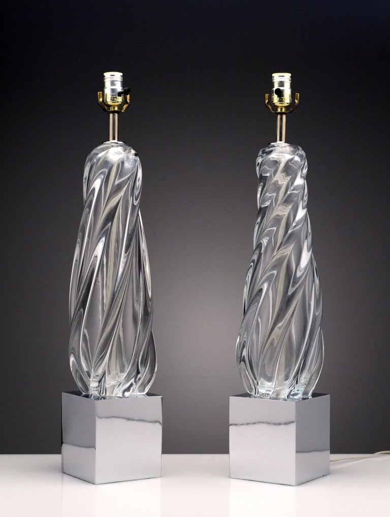 Vintage Modern Hollywood Regency Glass and Chrome Table Lamps 1
