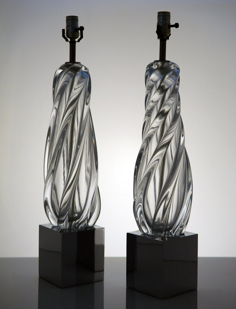 Vintage Modern Hollywood Regency Glass and Chrome Table Lamps 2