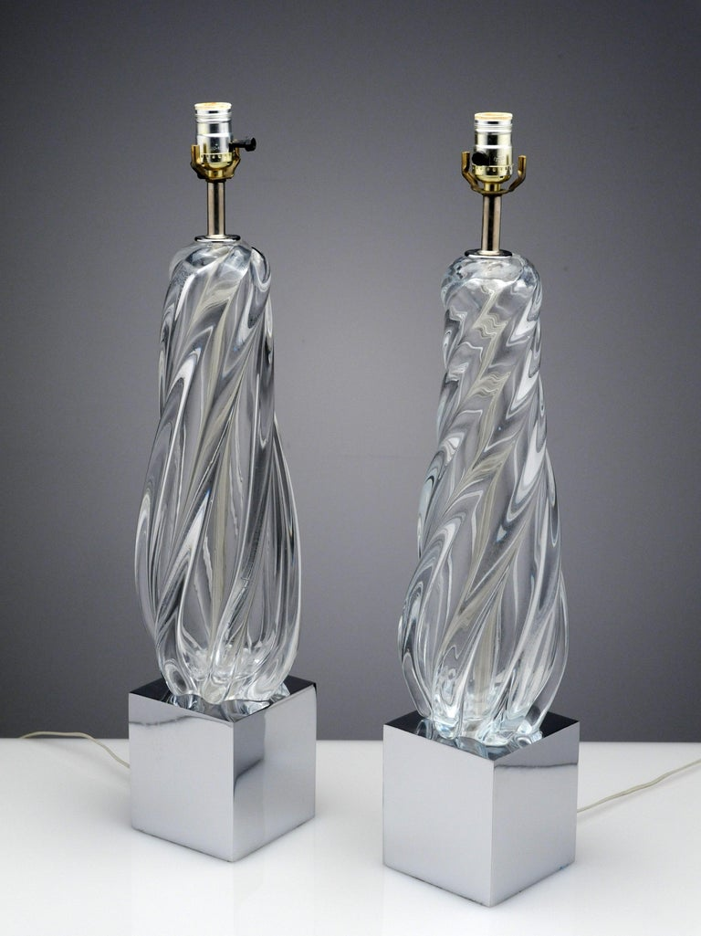 Vintage Modern Hollywood Regency Glass and Chrome Table Lamps 4