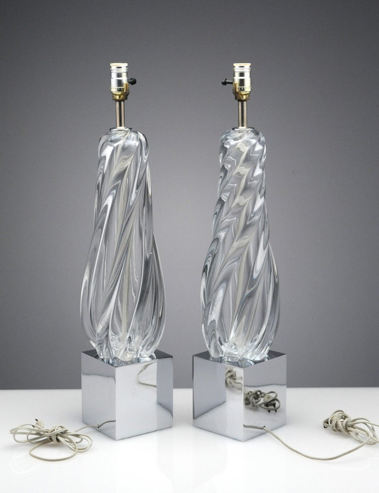 Vintage Modern Hollywood Regency Glass and Chrome Table Lamps 5