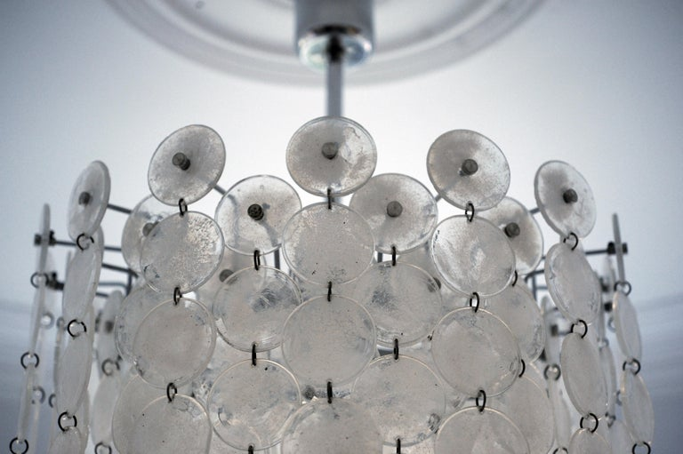 Vintage Modern Italian Glass Disc Chandelier by Vistosi For Sale 6