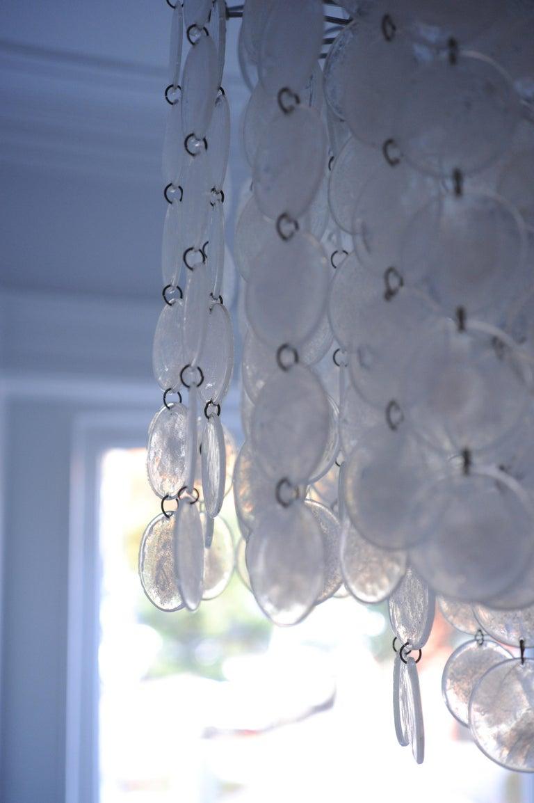 Vintage Modern Italian Glass Disc Chandelier by Vistosi For Sale 8