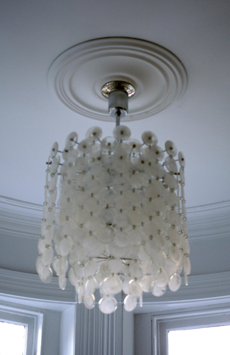 Late 20th Century Vintage Modern Italian Glass Disc Chandelier by Vistosi For Sale