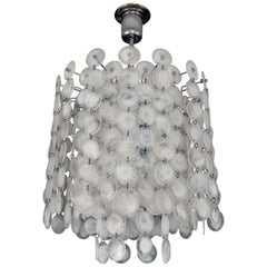 Vintage Modern Italian Glass Disc Chandelier by Vistosi