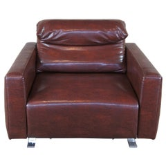 Vintage Modern Italian Leather Extendable Motorized Club Arm Lounge Chair