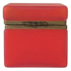 Vintage Modern Italian Murano Red Satin Art Glass and Brass Jewelry Box