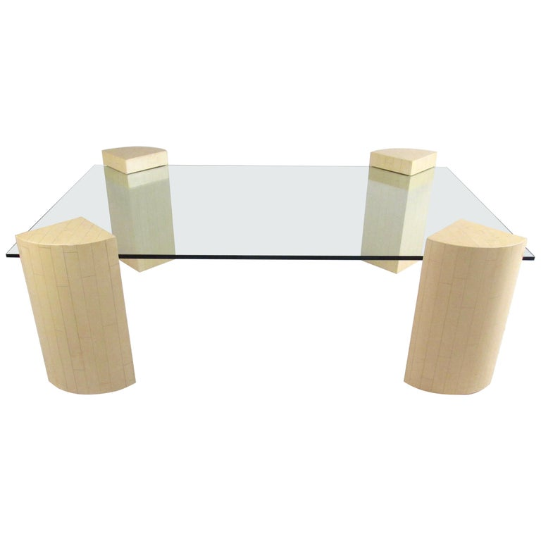 Vintage Modern Lacquered Base Coffee Table For Sale