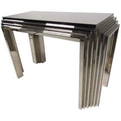 Vintage Modern Lamp Table in Mirrored Brass Finish