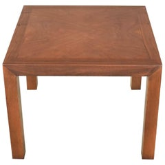 Vintage Modern Lane Solid Walnut Square Parsons Side Table Style #1124-18, 1970