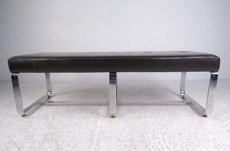 This Stylish Vintage Bench Seat Features Tufted Leather Upholstery And Chrome Base At 61 Inches