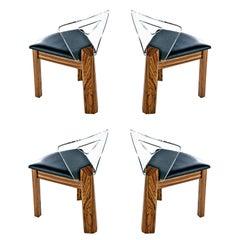 Vintage Modern Lucite Back Zebra Wood Dining Chairs, New Black Vinyl