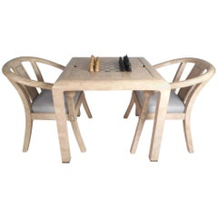 Vintage Modern Maitland Smith Tessellated Stone Game Table with Two Chairs