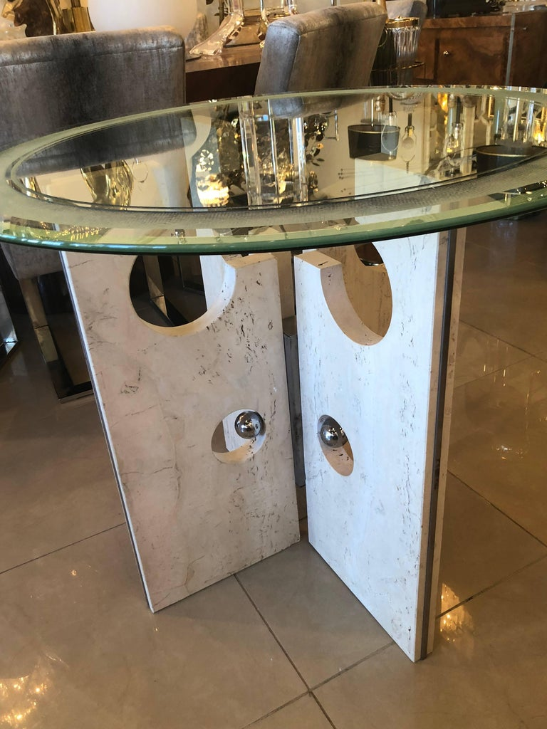 Vintage Modern Marble and Chrome Dining Table or Center Table  For Sale 7