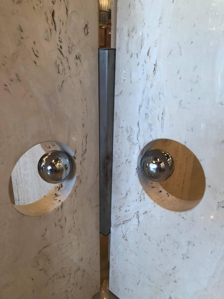 """Vintage marble and chrome dining table or center table with glass top. You can add a much larger top if you prefer. Vintage glass top may have minor scratches. Great architectural modern lines. Heavy, sturdy base. Glass is 36"""" round. Height below"""
