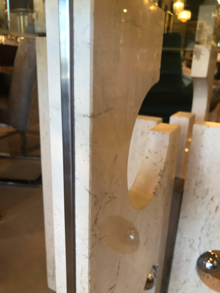 American Vintage Modern Marble and Chrome Dining Table or Center Table  For Sale