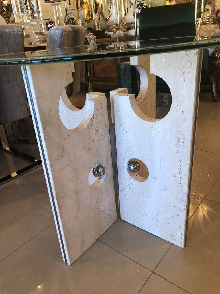 Vintage Modern Marble and Chrome Dining Table or Center Table  In Good Condition For Sale In West Palm Beach, FL