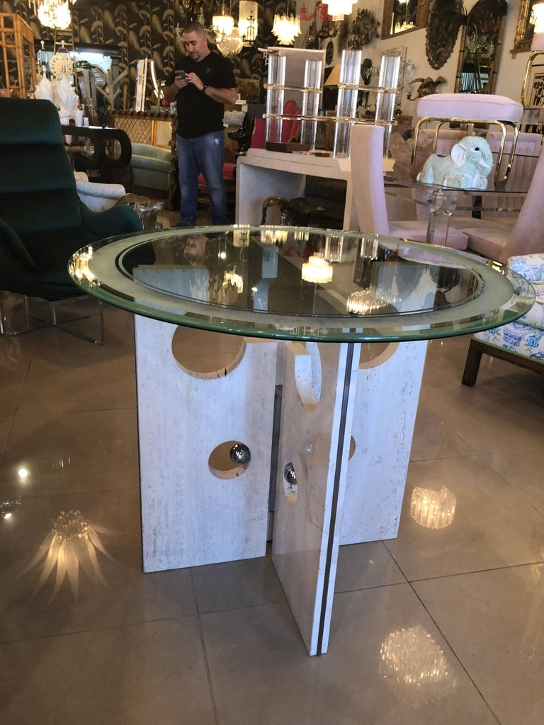 Glass Vintage Modern Marble and Chrome Dining Table or Center Table  For Sale