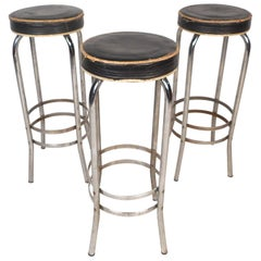 Vintage Modern Metal Stools, Set of 3