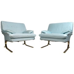 Vintage Modern Milo Baughman Style Cantilever Lounge Chairs
