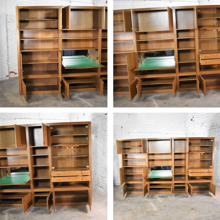 Vintage Modern Oak 4 Section Modular Wall Unit from Lord Series by Kämper Intl. For Sale 5