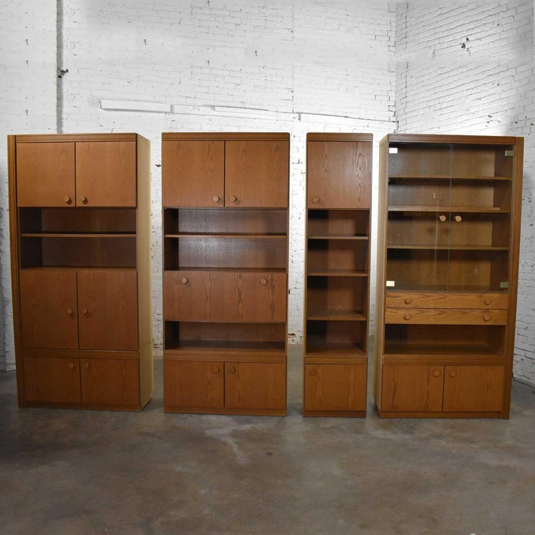 Vintage Modern Oak 4 Section Modular Wall Unit from Lord Series by Kämper Intl. For Sale 6