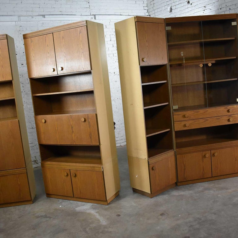 Vintage Modern Oak 4 Section Modular Wall Unit from Lord Series by Kämper Intl. For Sale 8