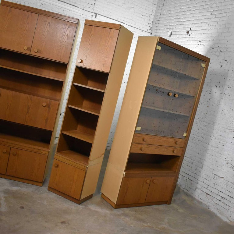 Vintage Modern Oak 4 Section Modular Wall Unit from Lord Series by Kämper Intl. For Sale 9