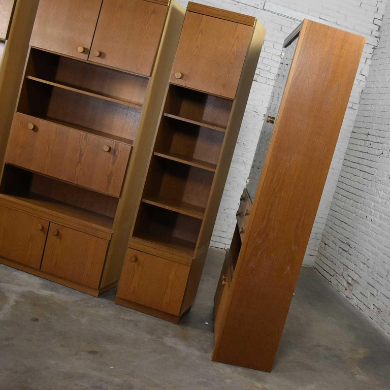 Vintage Modern Oak 4 Section Modular Wall Unit from Lord Series by Kämper Intl. For Sale 10