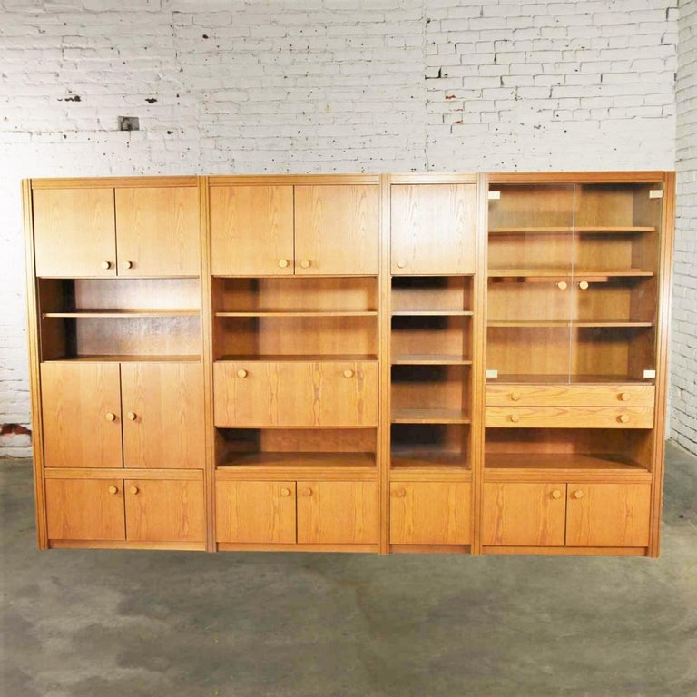 German Vintage Modern Oak 4 Section Modular Wall Unit from Lord Series by Kämper Intl. For Sale