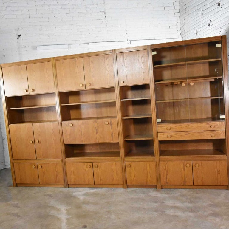 Veneer Vintage Modern Oak 4 Section Modular Wall Unit from Lord Series by Kämper Intl. For Sale