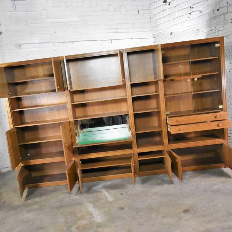 Late 20th Century Vintage Modern Oak 4 Section Modular Wall Unit from Lord Series by Kämper Intl. For Sale