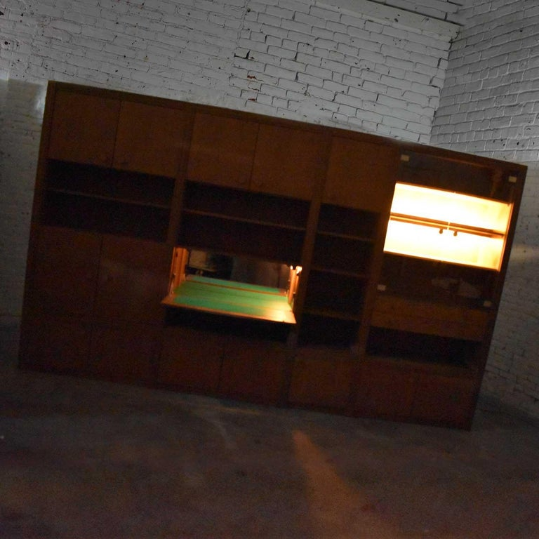 Vintage Modern Oak 4 Section Modular Wall Unit from Lord Series by Kämper Intl. For Sale 1