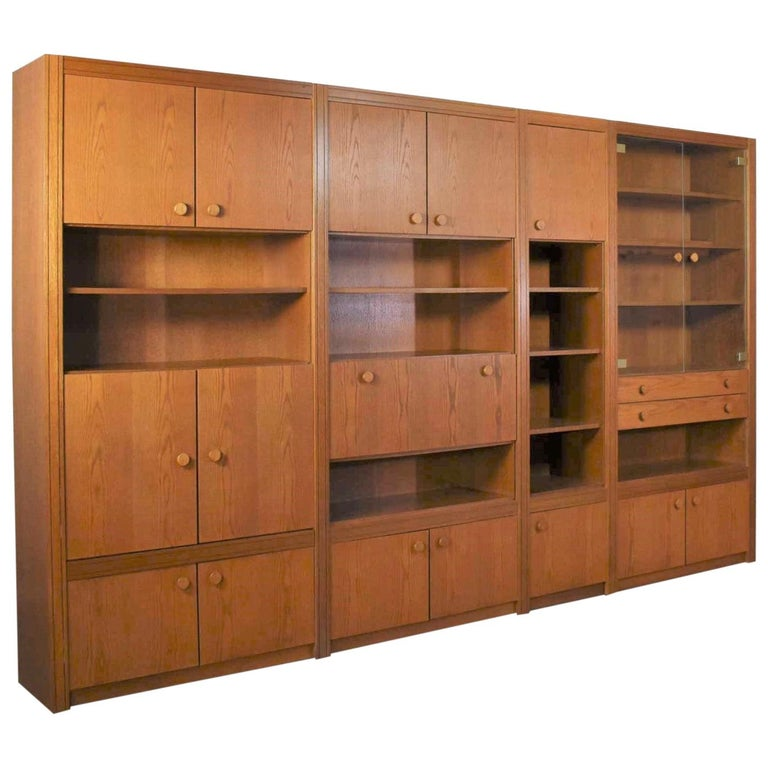 Vintage Modern Oak 4 Section Modular Wall Unit from Lord Series by Kämper Intl. For Sale
