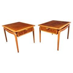 Vintage Modern Oak and Walnut End Tables by Lane