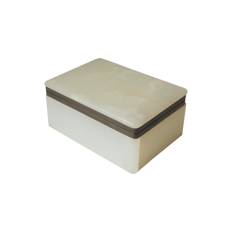 Modern White Onyx Marble and Brass Jewelry Box from Belgium For Sale