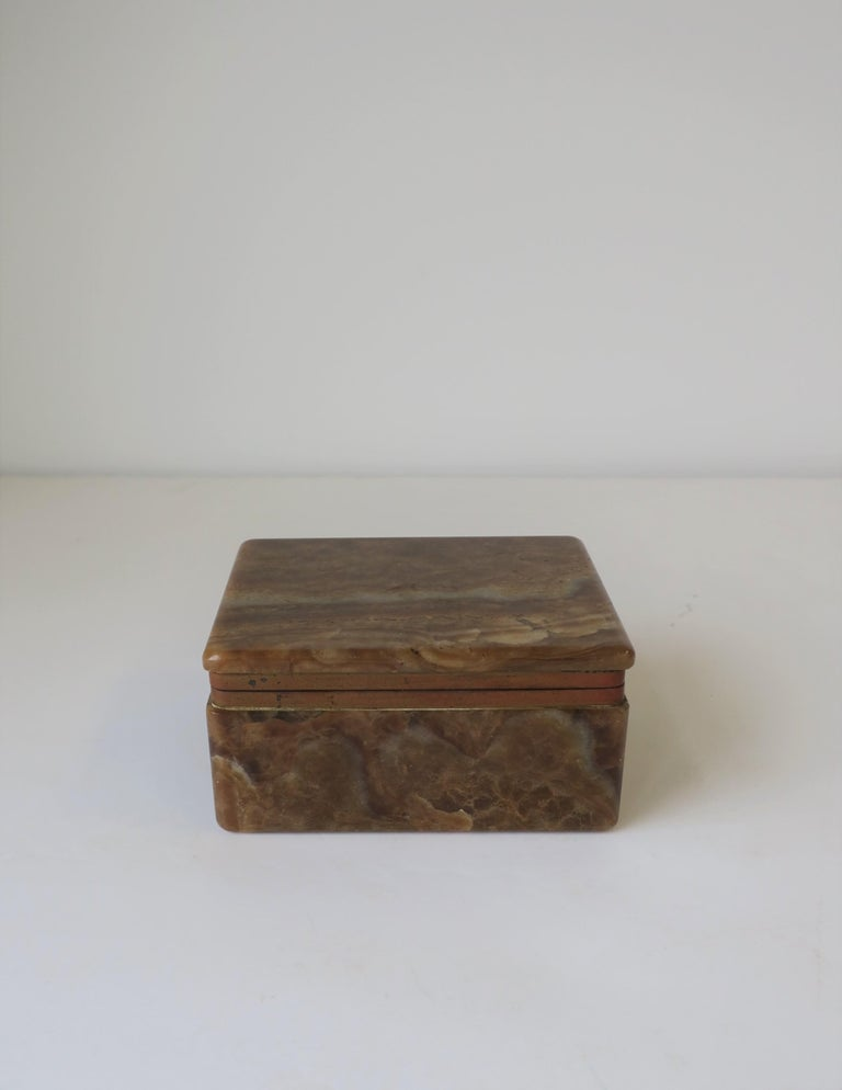 Belgian Modern Onyx Marble and Brass Jewelry Box from Belgium For Sale