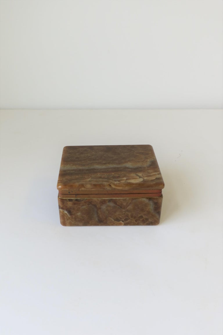 Polished Modern Onyx Marble and Brass Jewelry Box from Belgium For Sale